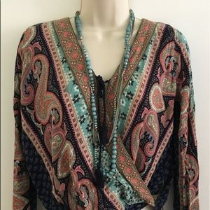 Hollister bohemian long sleeve blouse ,size xs